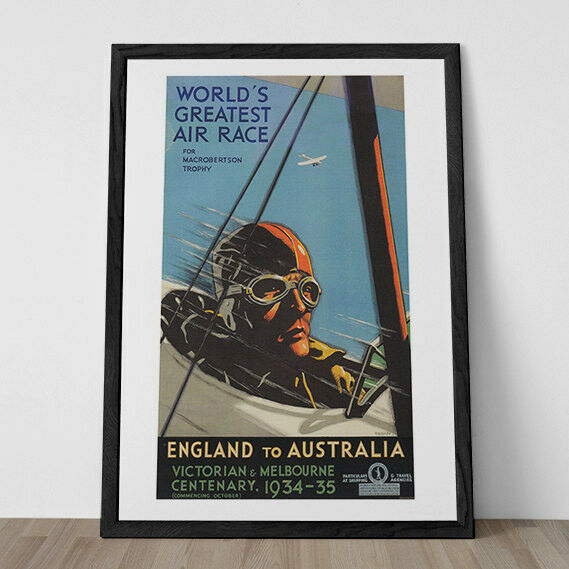 Aviation Poster Airplane Race 1930s Wall Art Frame Ready