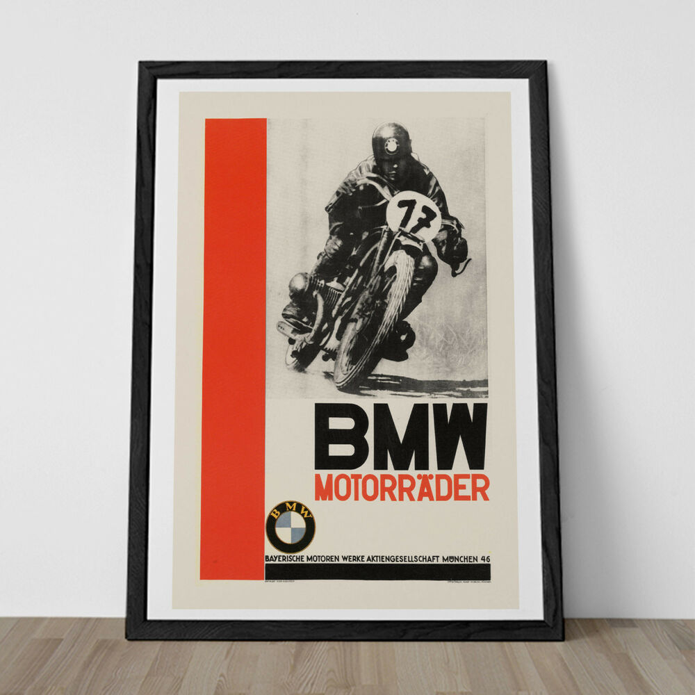 Vintage bmw poster art deco print reproduction high for Poster ikea