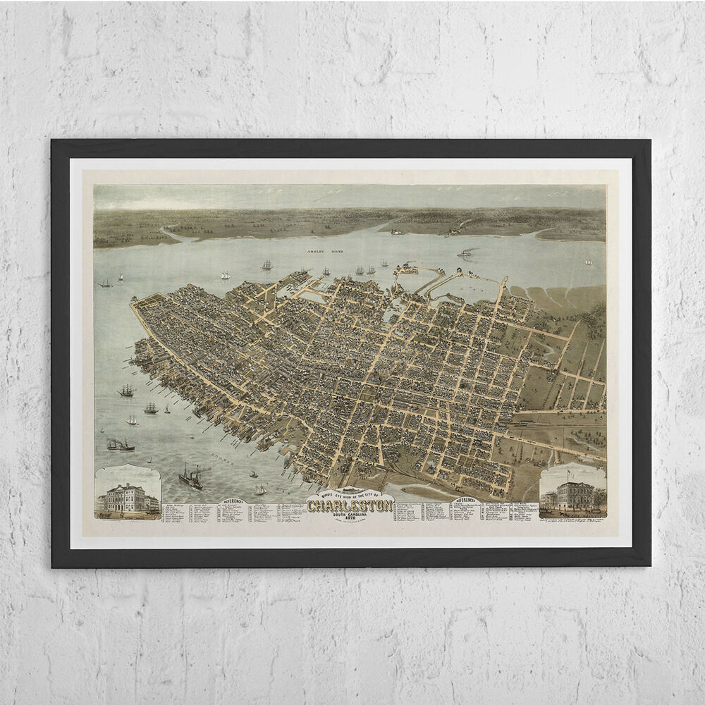ANTIQUE CHARLESTON MAP Wall Art  Vintage Map Of