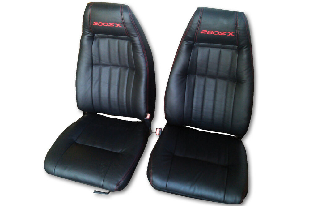 1979 1983 datsun 280zx genuine leather black seat covers ebay. Black Bedroom Furniture Sets. Home Design Ideas