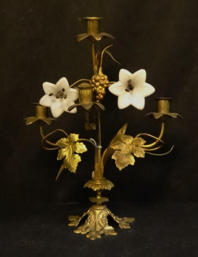 Antique Ornate Brass With Glass Flowers Candle Sconce Ebay