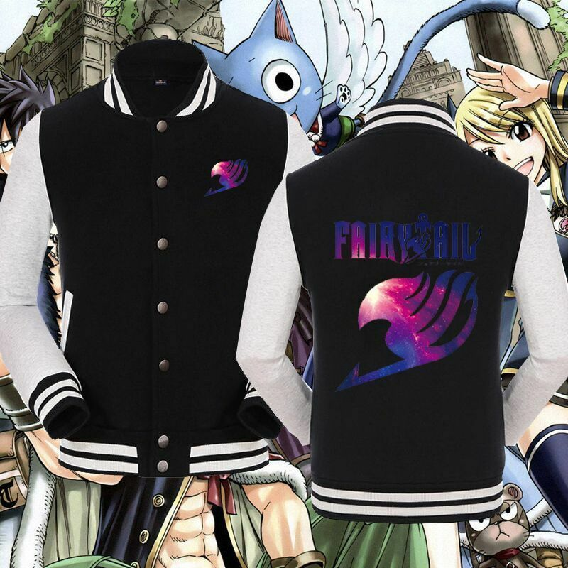 Anime Characters Jacket : Anime fairy tail unisex baseball cool jacket sweater