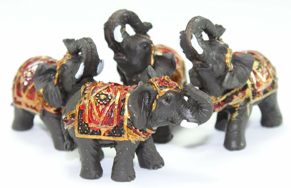 Set Of 4 Feng Shui Black Thai Elephant Statues Lucky
