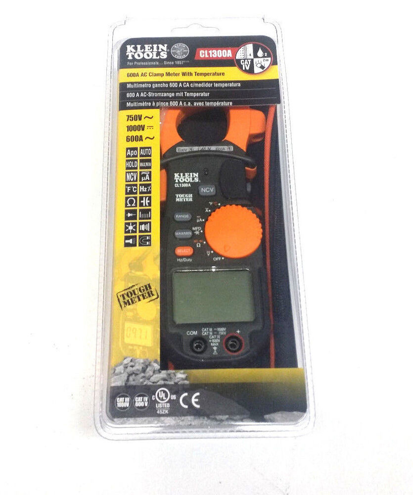 Ac Clamp Meter : Klein tools cl a ac clamp meter with temperature