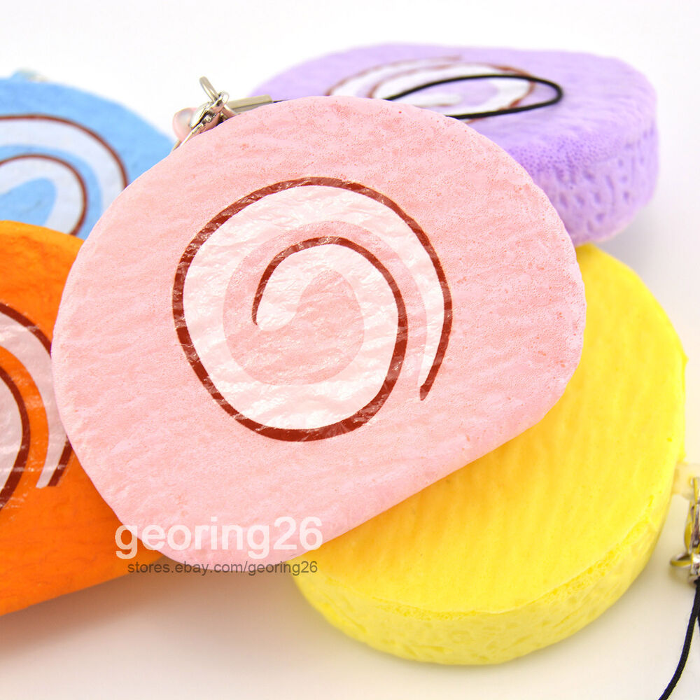 Cute Small Swiss Roll Cake Squishy Phone Straps Bread Odor Soft Kids Toy Charms eBay