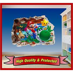 Super Mario Brothers Hole in Wall 2 - Print Vinyl Sticker Decal Children Bedroom