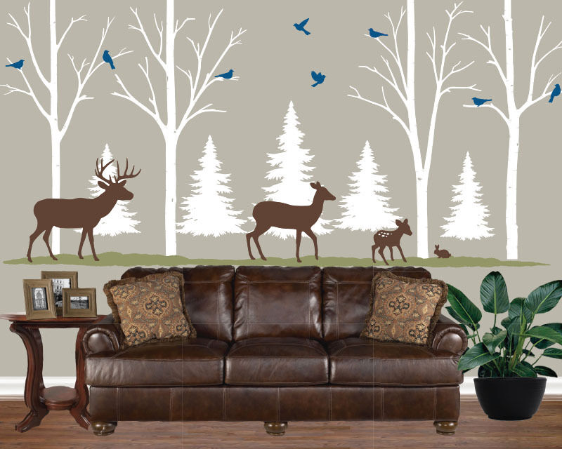 Home lodge cabin decor birch tree decal forest theme for Cabin decor
