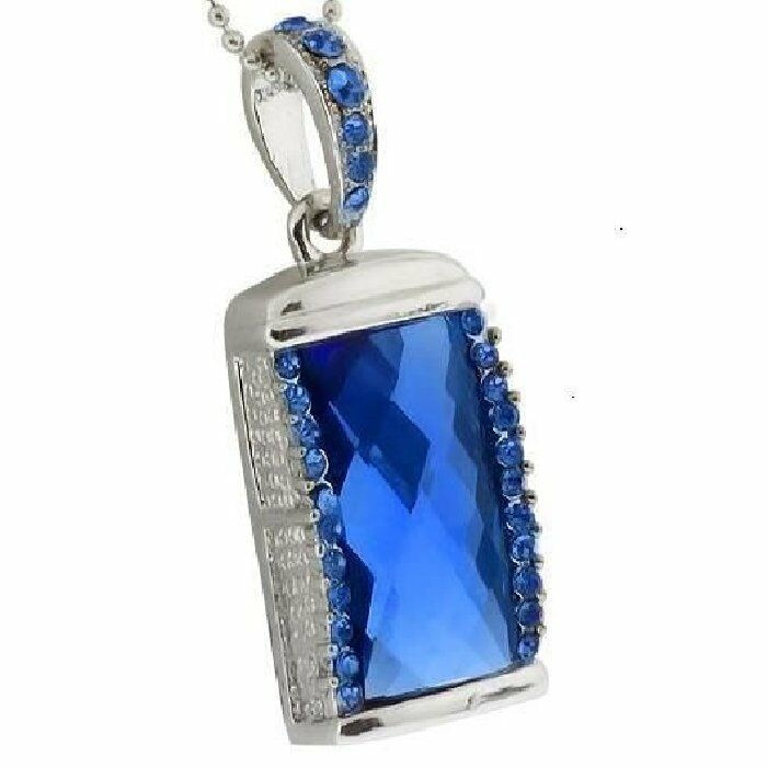 16 gb usb stick schmuck speicherstick anh nger diamant blau strass ebay. Black Bedroom Furniture Sets. Home Design Ideas