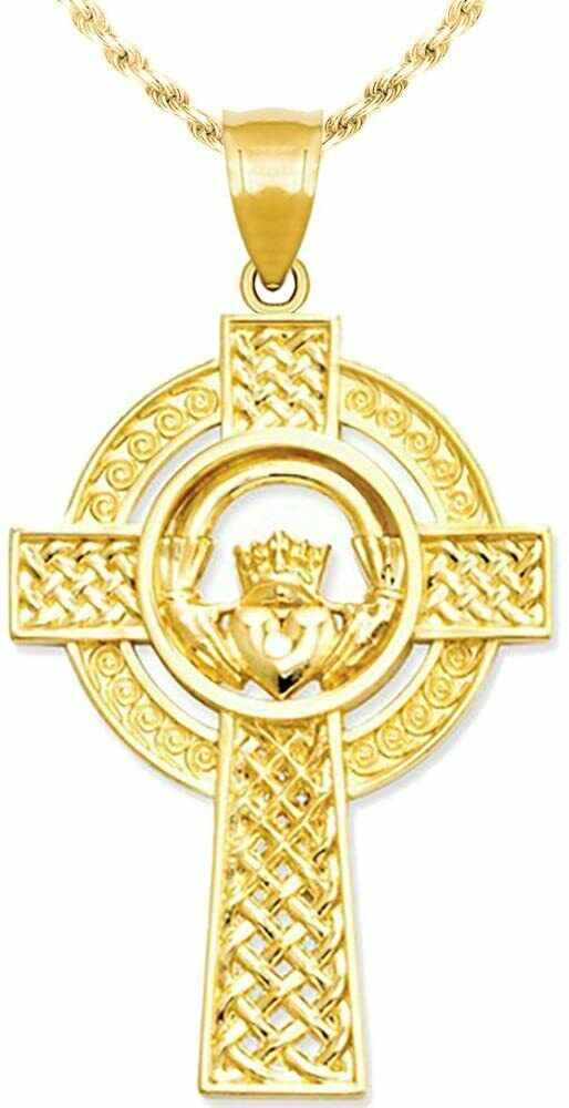 new 14k yellow gold irish celtic cross pendant charm with. Black Bedroom Furniture Sets. Home Design Ideas