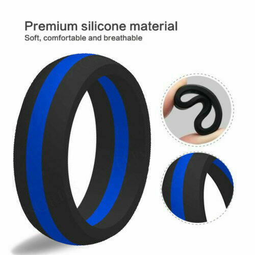 Rubber Band Wedding Rings >> SAR - SAFE ACTIVE RINGS 8mm Blue Stripe Police Force Silicon Wedding Band Ring | eBay
