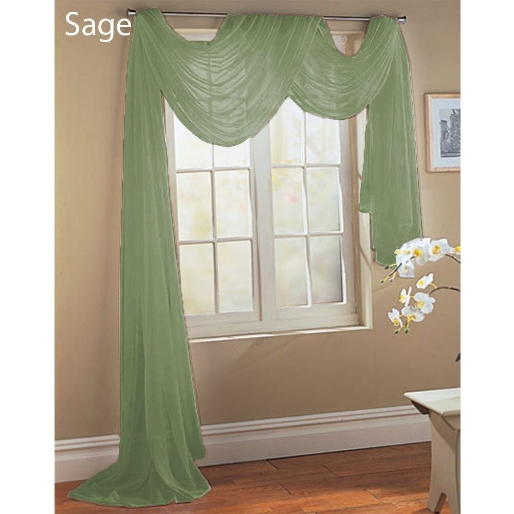 Sage green scarf sheer voile window treatment curtain drapes valance ebay