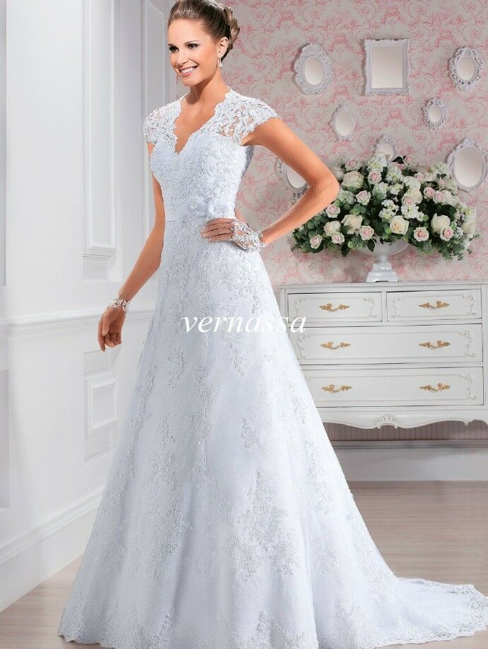 White ivory wedding dress bridal gown custom size 4 6 8 10 for Ebay wedding dresses size 12