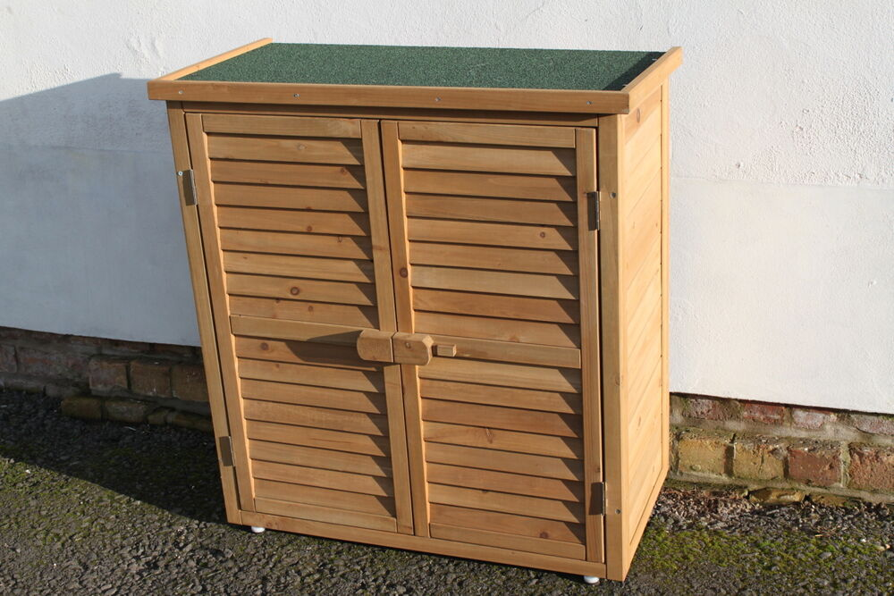 Outdoor garden wooden storage cabinet or tool shed in