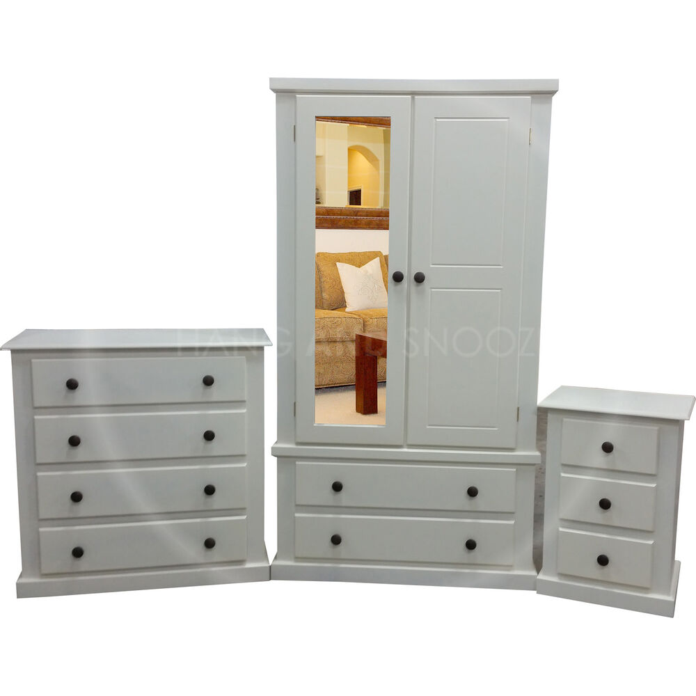 HANDMADE DEWSBURY 3 PIECE MIRRORED BEDROOM SET IVORY ...