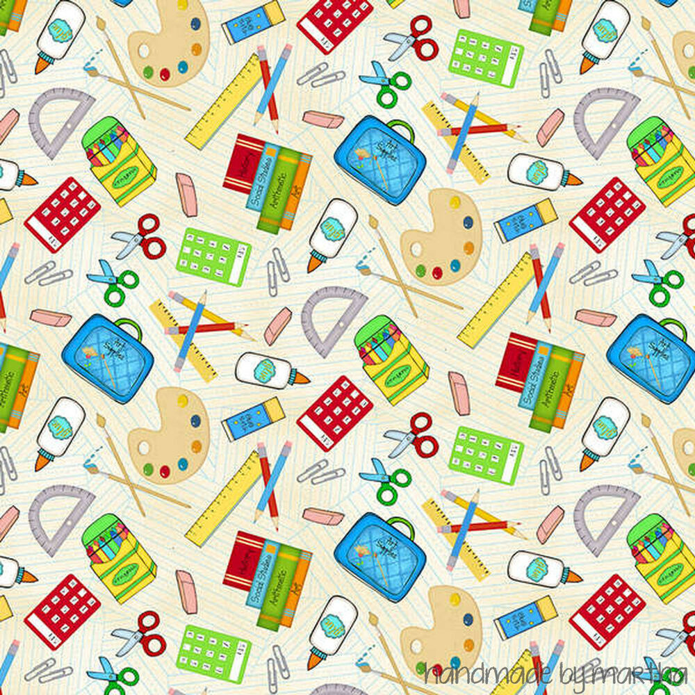 Fabric multi school days supply toss 4583 143 wilmington for Fabric supply