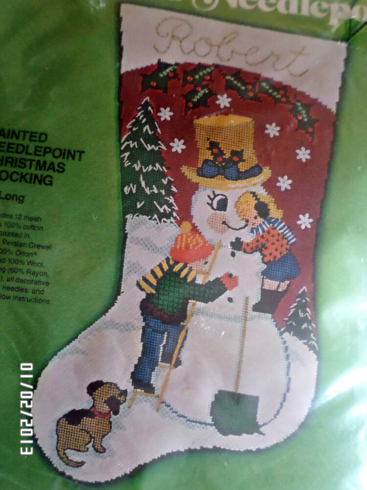 Christmas Bucilla Painted Needlepoint Stocking Kit