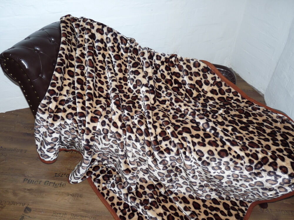 xxl kuscheldecke tagesdecke wohndecke plaid leopard design 200x240cm ebay. Black Bedroom Furniture Sets. Home Design Ideas
