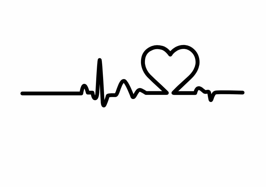 heart line life monitor vinyl sticker decal car window