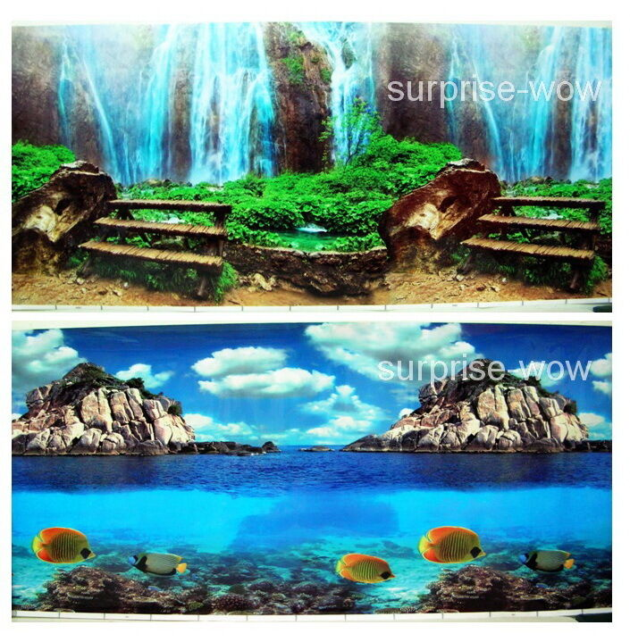 Fish tank aquarium 20 h 50cm background 2 sided picture for Aquarium waterfall decoration