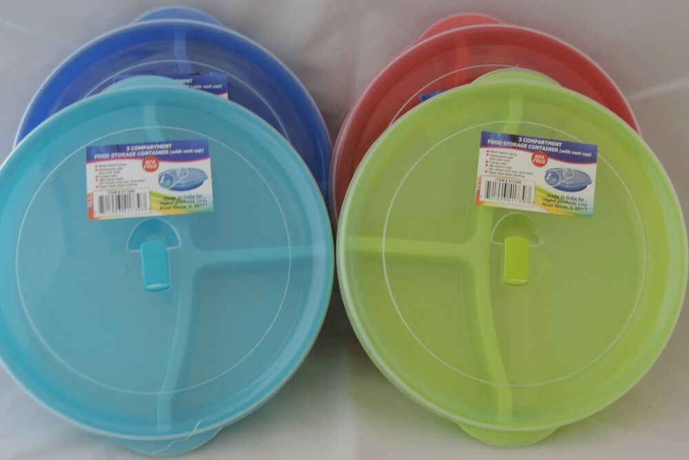 Microwave Food Container ~ Divided microwave plate w vented lids compartments