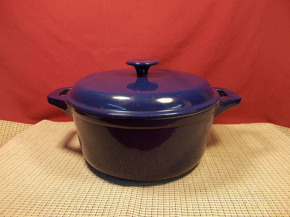 technique cast iron enameled covered dutch oven blue 9 3 4 w ebay. Black Bedroom Furniture Sets. Home Design Ideas