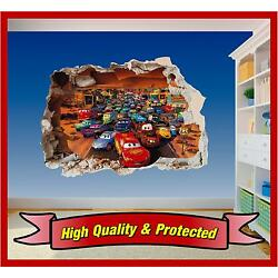 Cars Hole in Wall 2 - Lightning McQueen 3D Printed Vinyl Sticker Decal Childrens