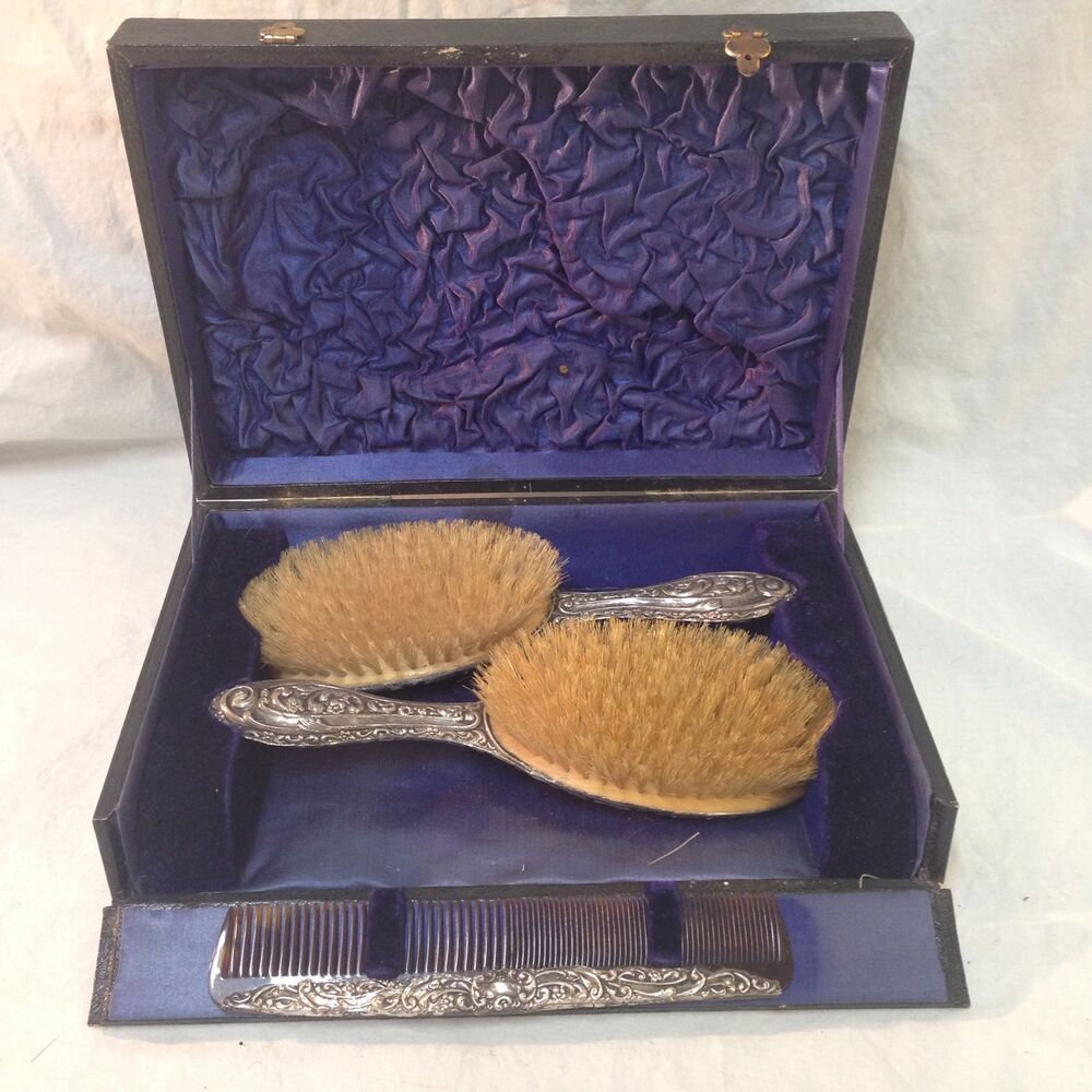 Sterling Silver Vanity Dresser Set Hair Brush Comb Box