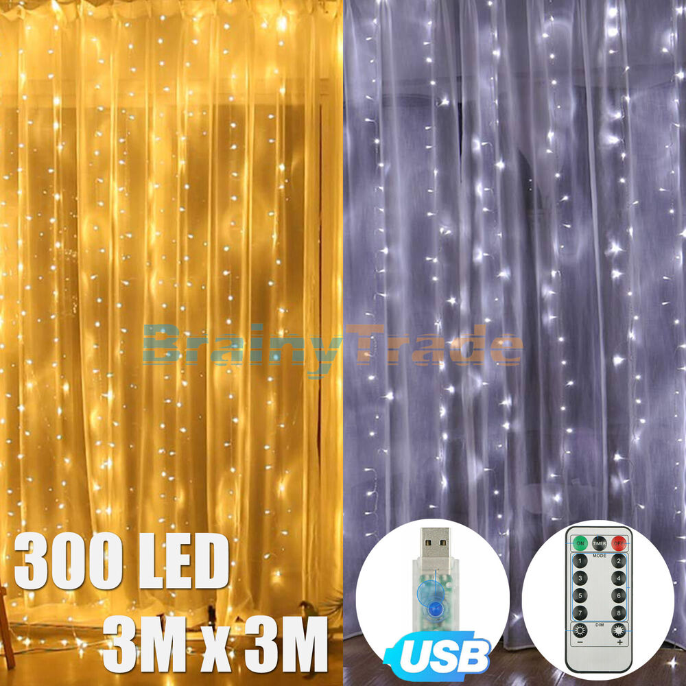 224 led christmas string fairy wedding curtain. Black Bedroom Furniture Sets. Home Design Ideas