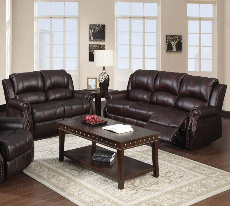 Acme Furniture Living Room Recliner Sofa And Loveseat In Brown Microfiber 2pcs Ebay