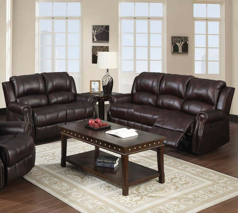 Acme furniture living room recliner sofa and loveseat in brown microfiber 2pcs ebay Brown microfiber couch and loveseat