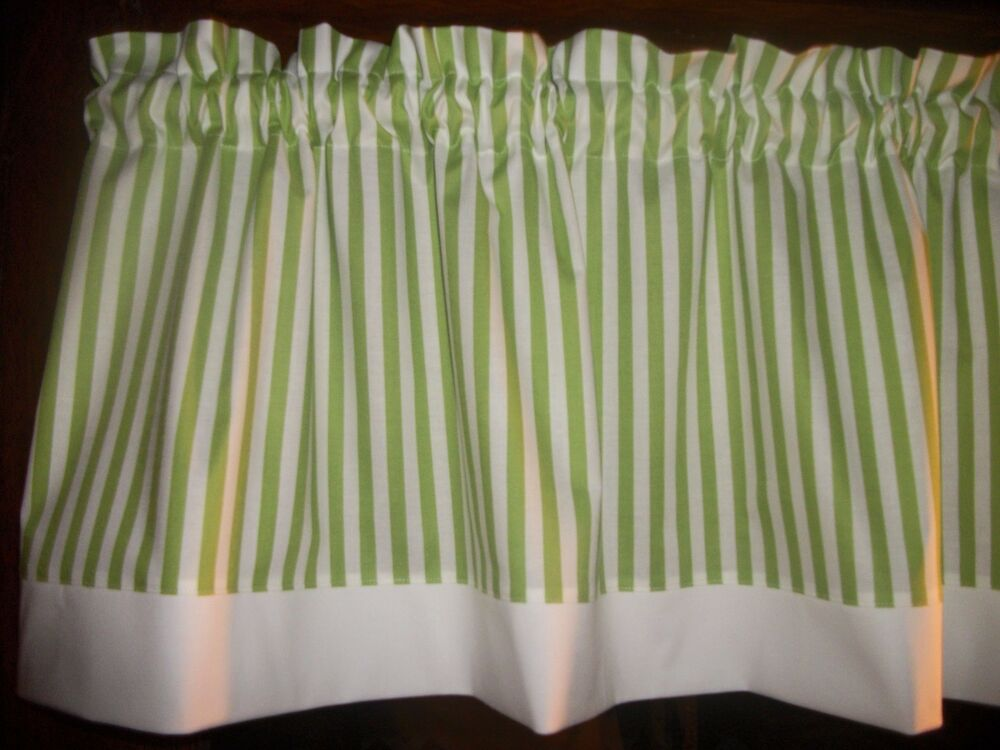 Lime Green White Striped Fabric Window Topper Curtain