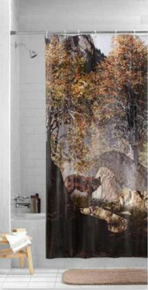 Lone wolf prowling wilderness nature print shower curtain Nature inspired shower curtains