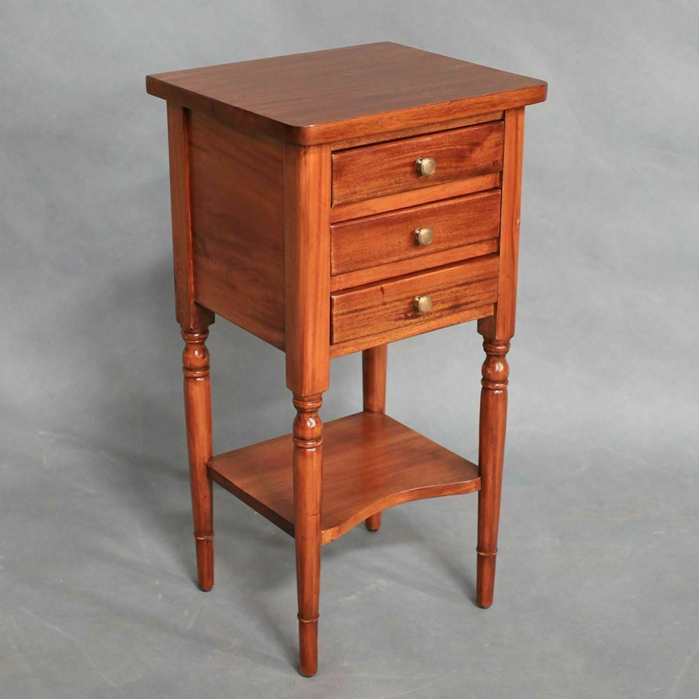 Solid Mahogany Wood Side Table With Shelf Amp 3 Drawers