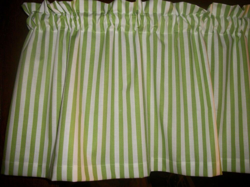 Lime Green White Striped Stripes Stripe Fabric Window