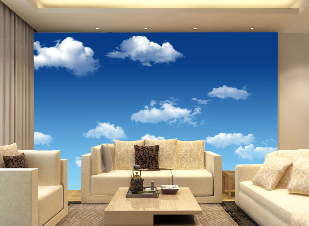 3d blue sky cloud 423 wallpaper murals wall print decal for Cloud wallpaper mural