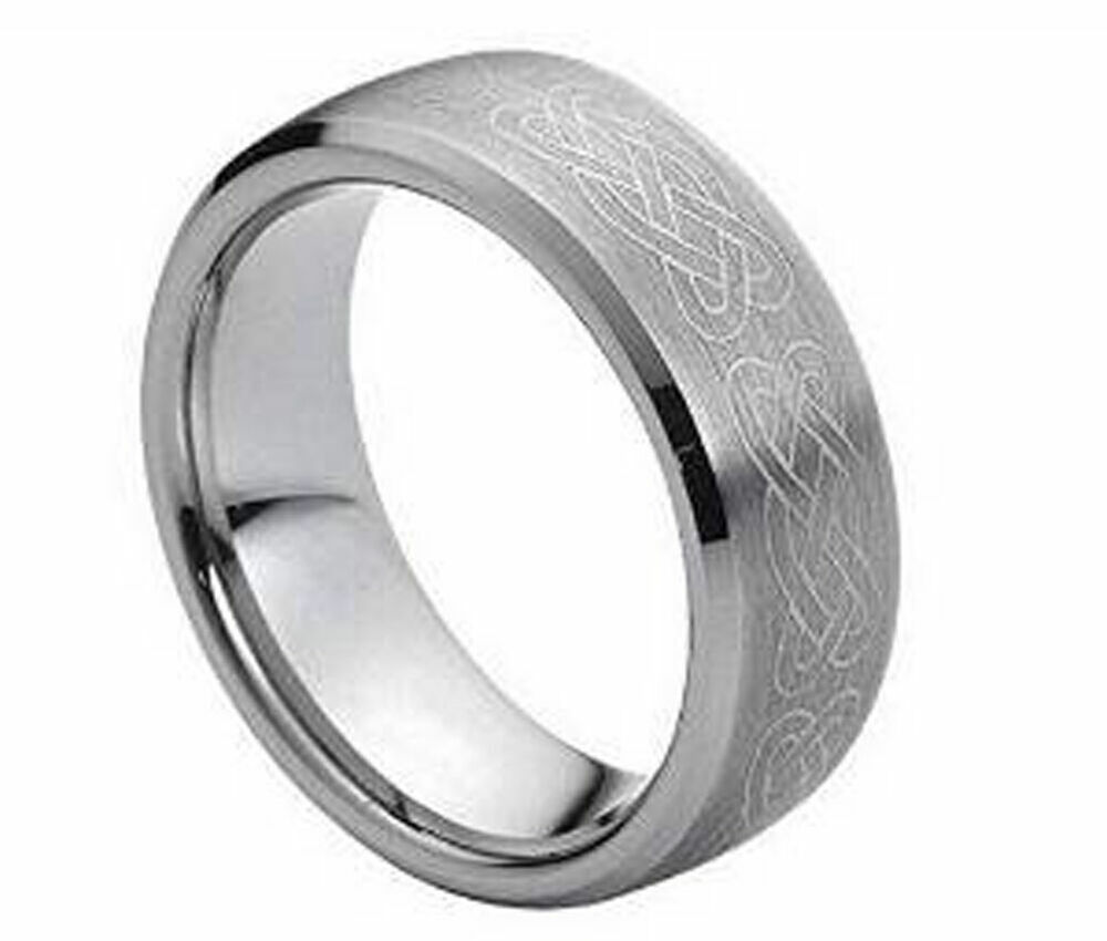 Tungsten Celtic Wedding Ring 8mm Men39s Or Ladies Tungsten Carbide Celtic Knot Beveled