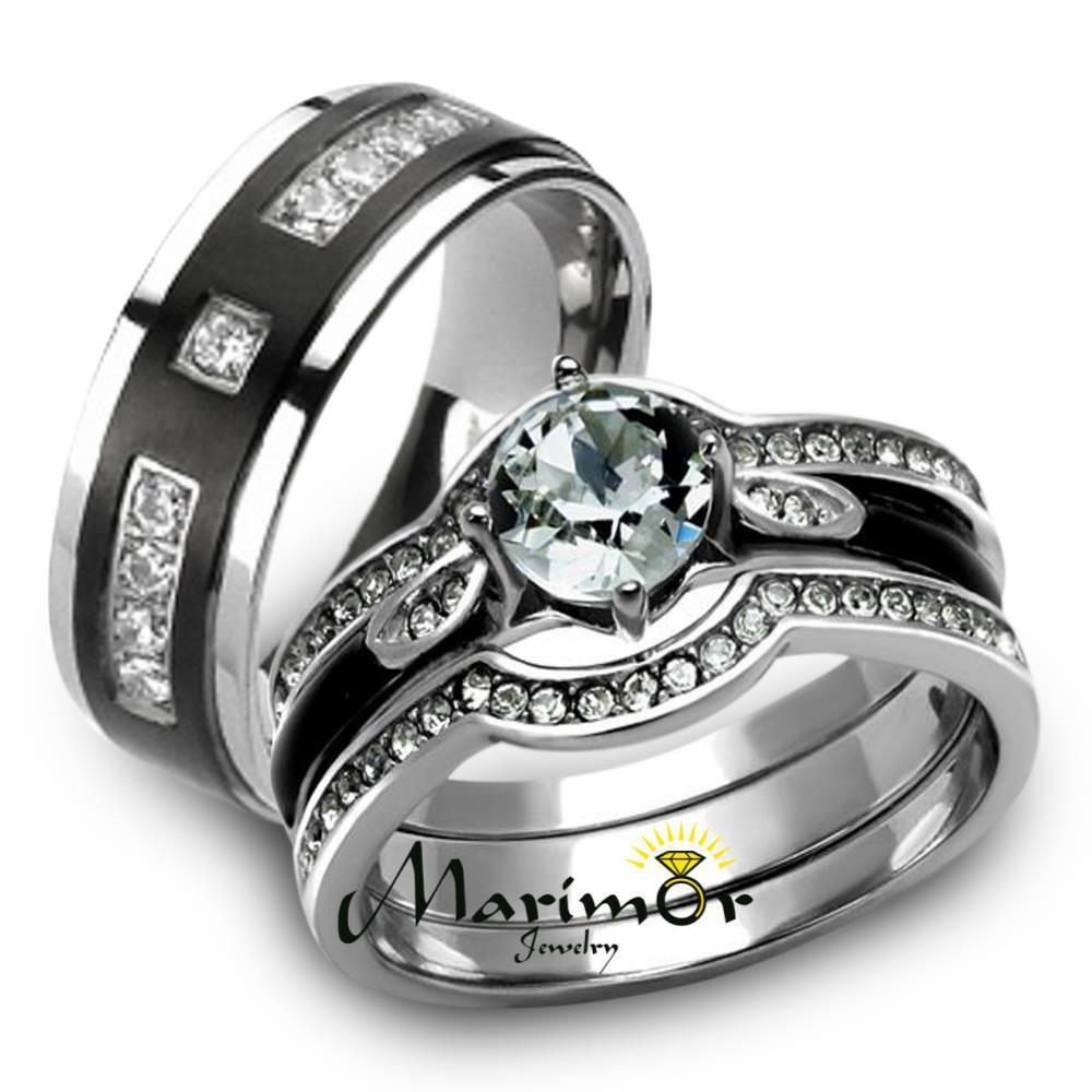 silver wedding rings for her amp his 4pc silver amp black stainless steel amp titanium 7463