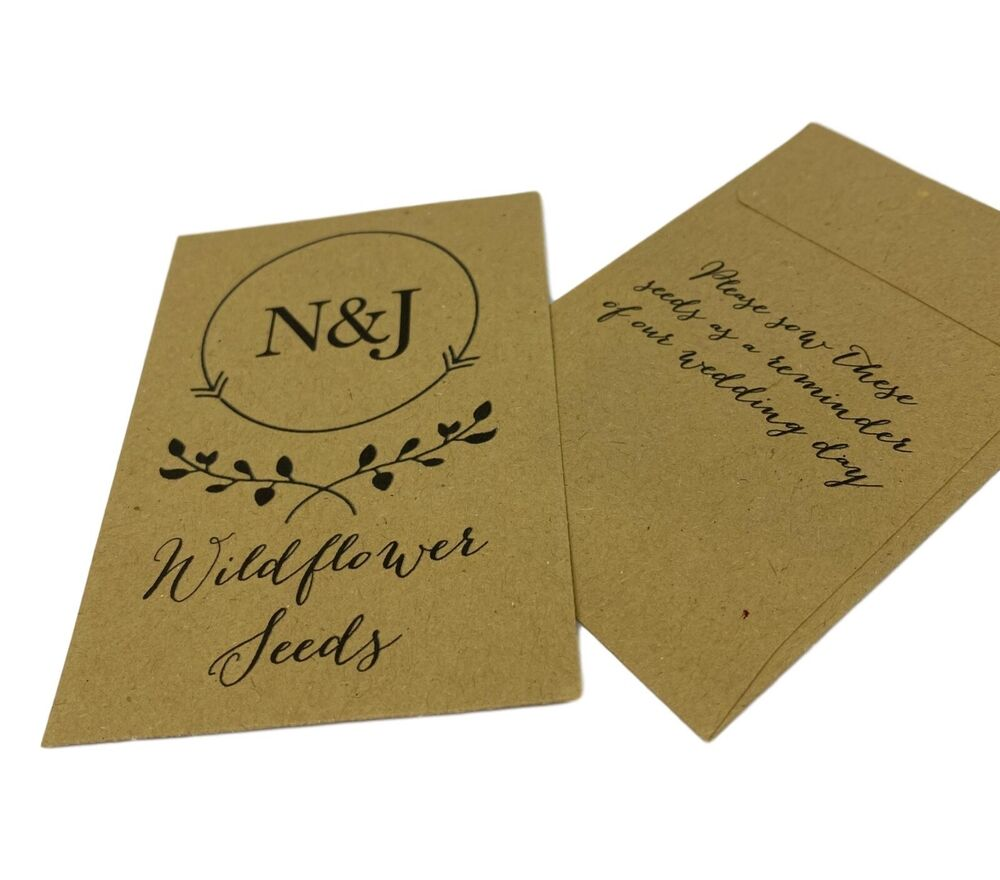 Wildflower Or Sunflower Seed Wedding Favours Personalise With Name