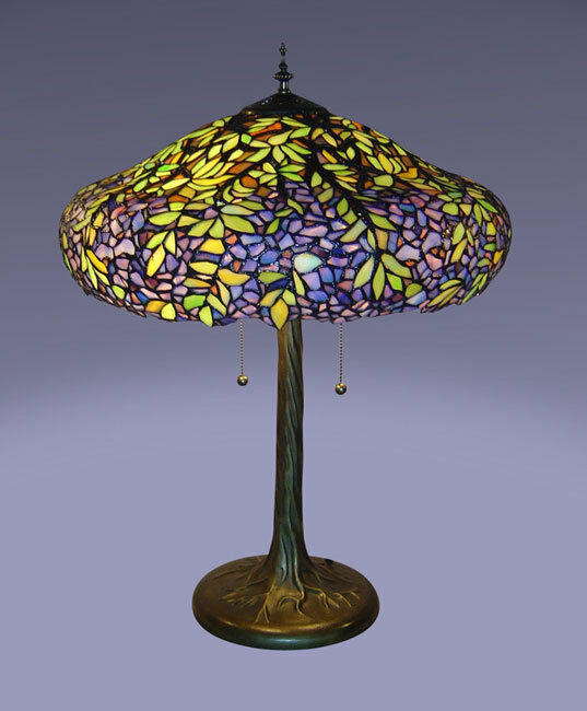 Tiffany Style Stained Cut Glass Victorian Laburnum Table Lamp Ebay