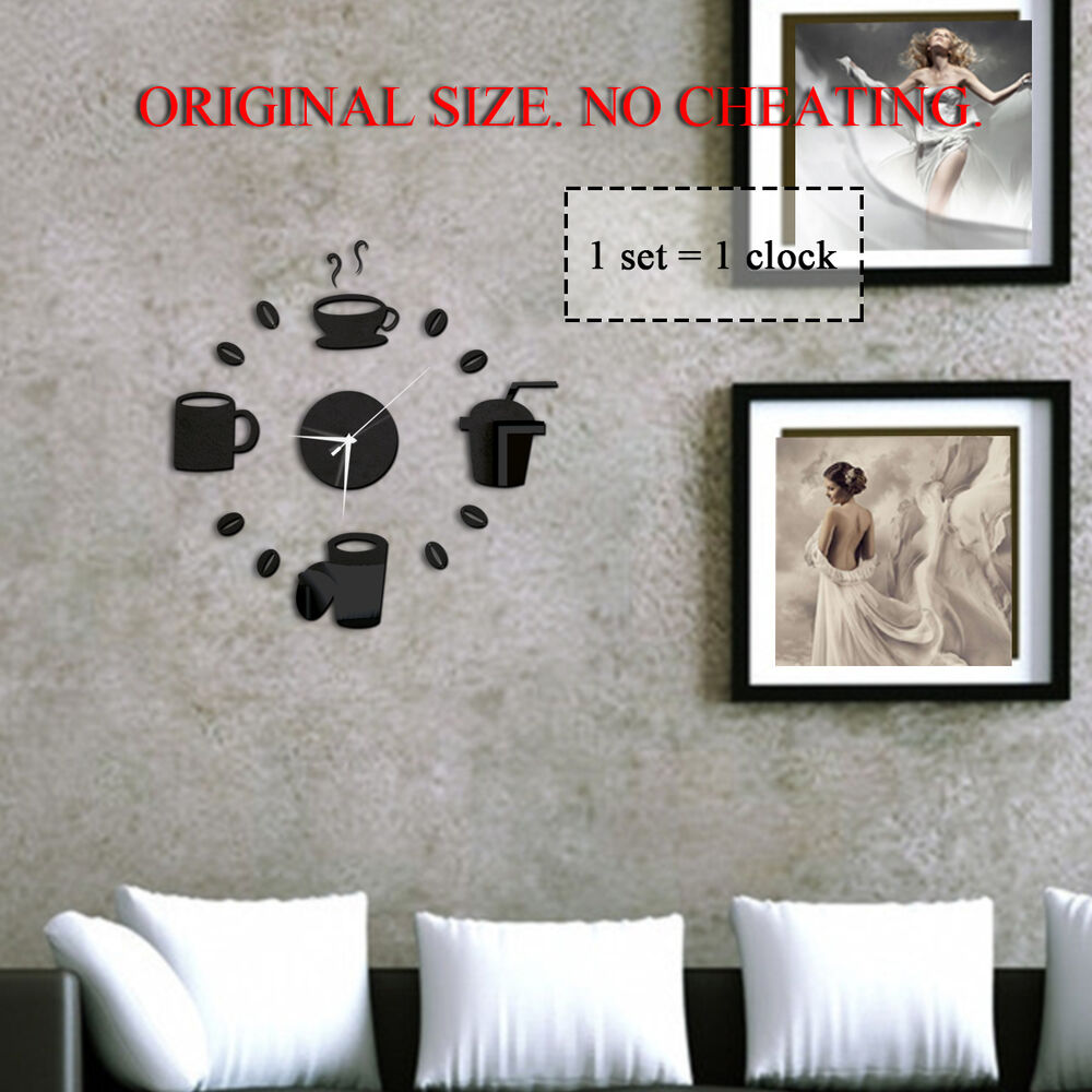 Diy home decor large coffee cup kitchen wall clocks watch for Large kitchen wall decor