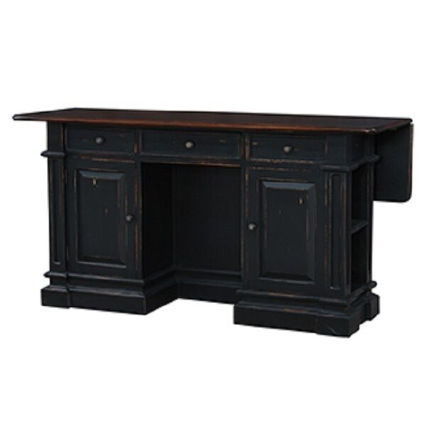 Distressed Black Kitchen Island With Butcher Block Top