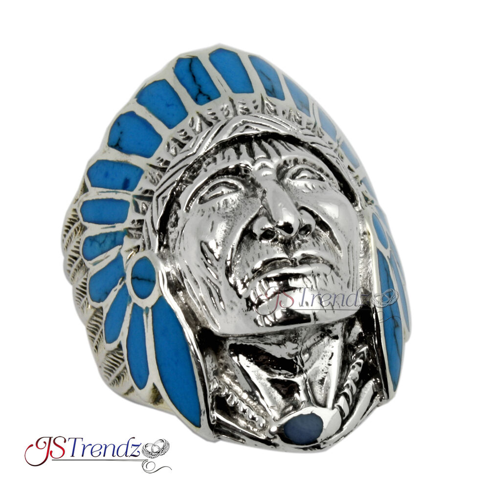 Mens Solid Sterling Silver Indian Head Chief Blue Turquoise Ring Big Ebay