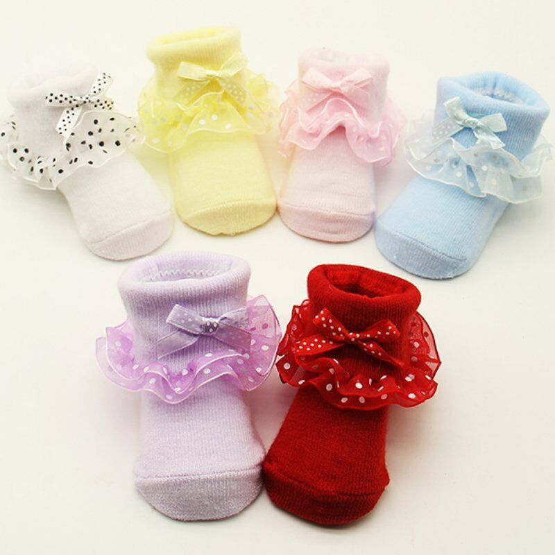 Toddler Baby Girls Cotton Cute Ankle Socks Dots Bowknot