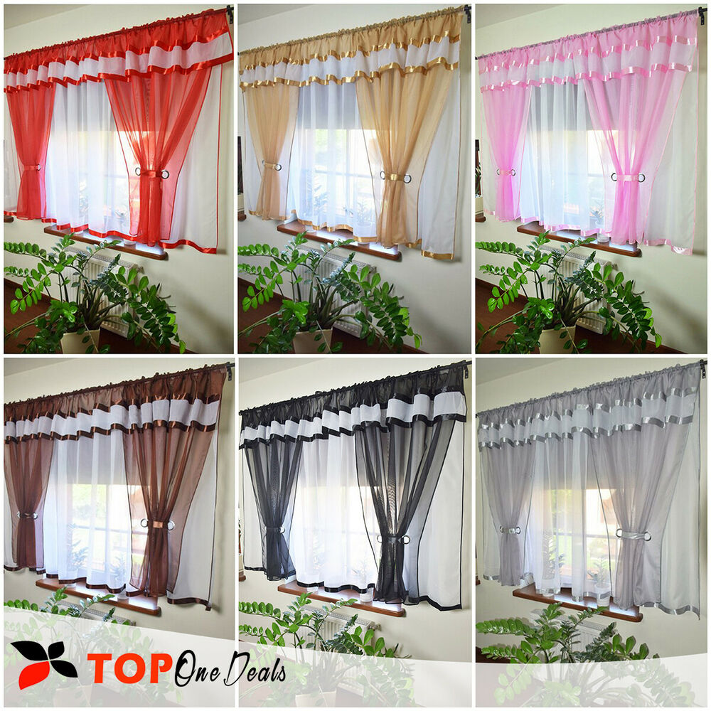 amazing voile net curtain ready made bedroom living dining room red brown purple ebay. Black Bedroom Furniture Sets. Home Design Ideas