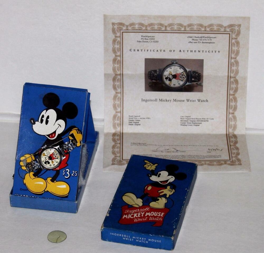 ex disney 1935 ingersoll mickey mouse watch 7 link band. Black Bedroom Furniture Sets. Home Design Ideas