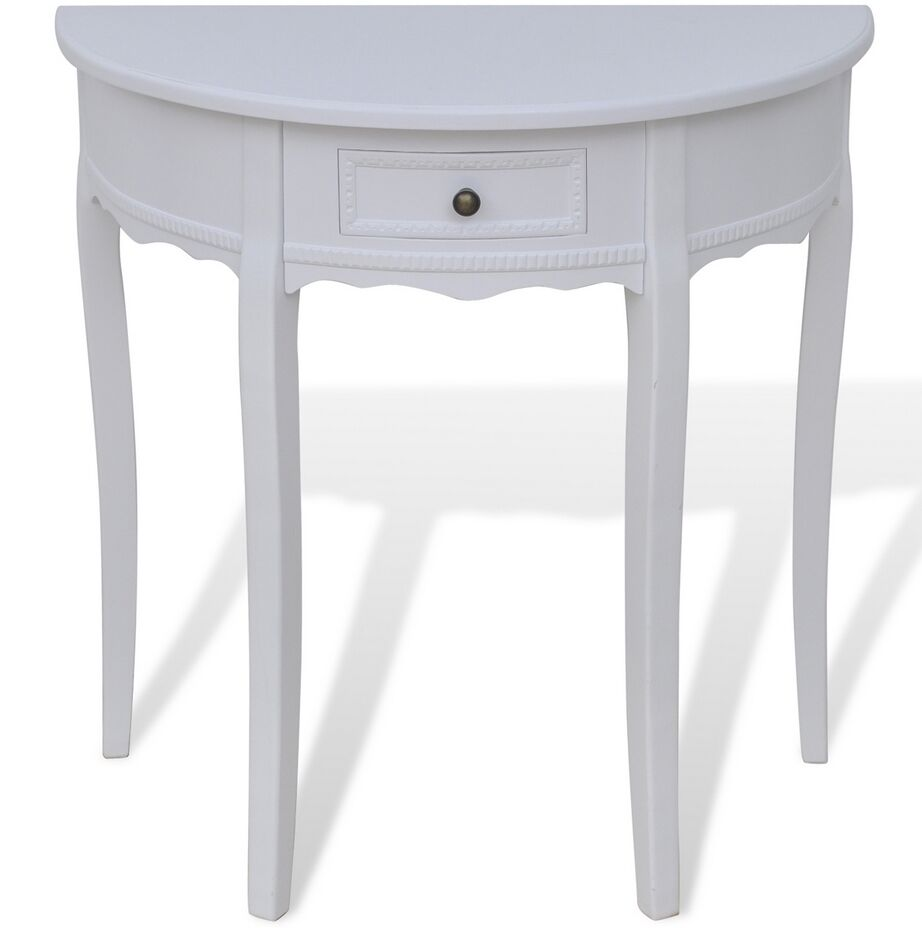 Wooden Half Moon Round Hall Table Side Console Shabby Chic