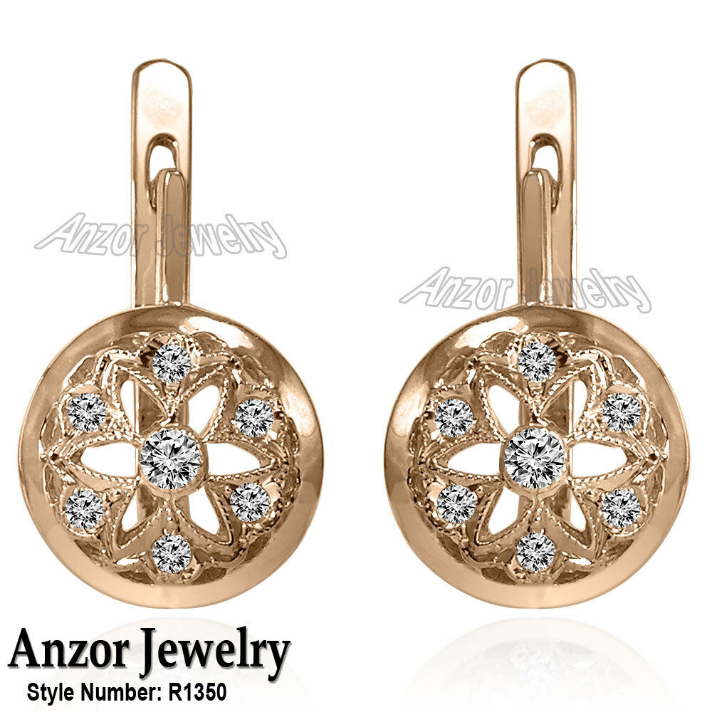 14k solid rose gold genuine diamond russian style earrings. Black Bedroom Furniture Sets. Home Design Ideas