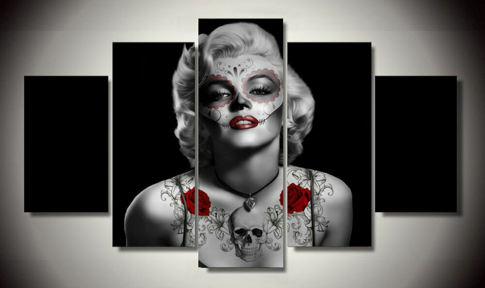 Framed canvas print day of the dead marilyn monroe sugar for Marilyn monroe skull tattoos