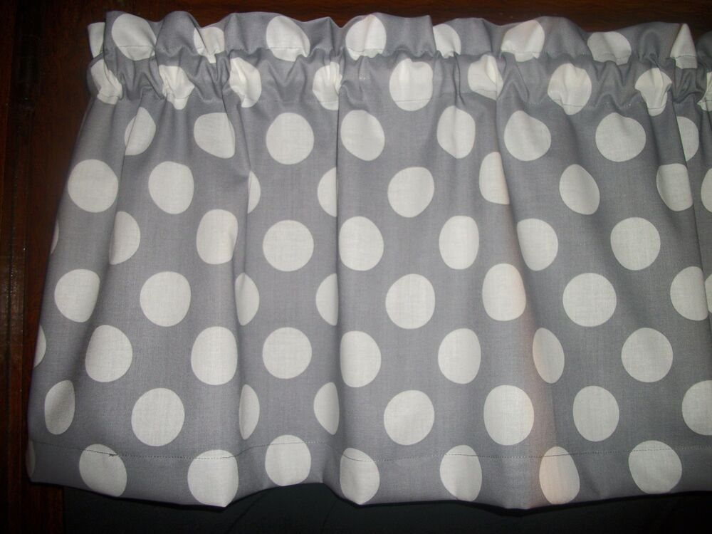 Gray Big Polka Dots Retro Kitchen Topper Curtain Fabric