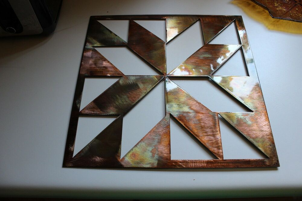Quilt square 14 metal wall art decor ebay for How to make decorative wall hangings at home
